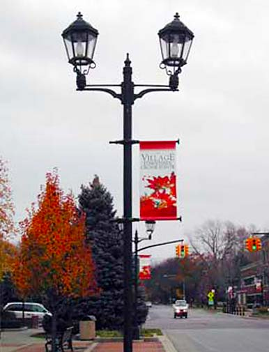 Seasonal banners in the Village